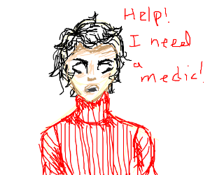 Man in red sweater needs a medic