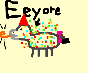 Eeyore covered in confetti!