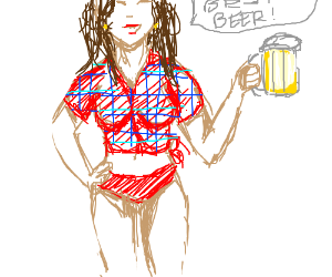 Pants-less girl recommends beer.