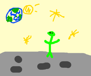 Green martian standing on moon, admiring earth