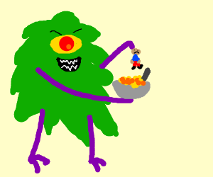 Giant Green Monster adds a human to his cereal