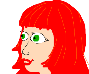 Red-haired girl with giant eyes