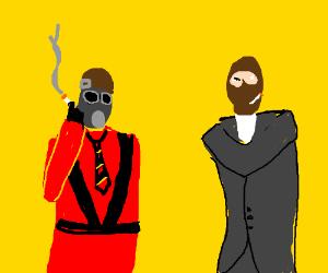 Pyro and spy having a smoke break
