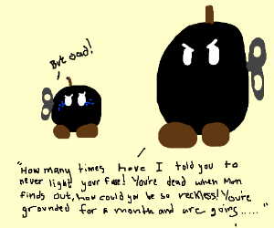 Bob-omb gets the 3rd degree from Dad