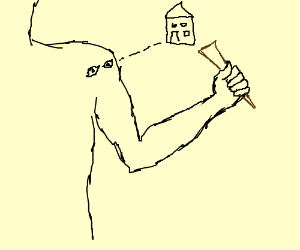 Arm holds a stake, shoulder looks at house