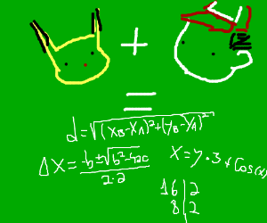 Pikachu plus Ash equals Nerdy Maths