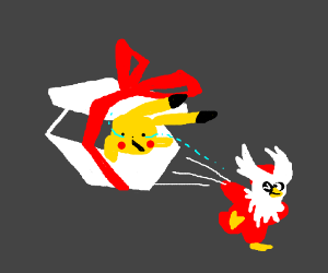 Delibird hands you a giftwrapped Pikachu.