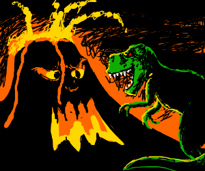 a dinossaur attacking volcano (volcanohasface)