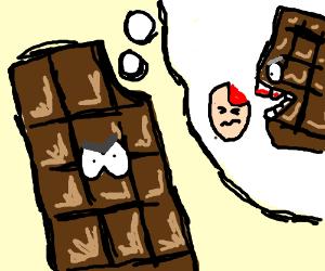 Bitten chocolate bar exacts revenge.