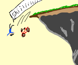 Aah! bicyclist going off cliff