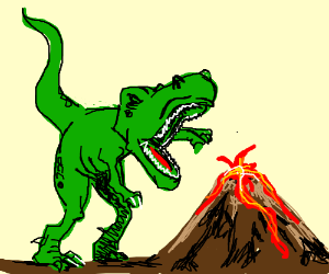The Angry Volcano vs T-Rex