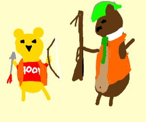 Winnie the Pooh and Yogi Bear go hunting