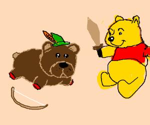 no feet bear playing robin hood with winnipooh