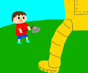 animalcrossing villager vs giant gold robot...