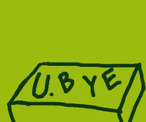 a U, a dot, a B, a Y, and an E in a box