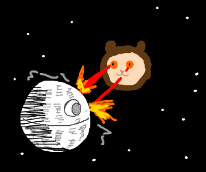 Catbear attacks Death Star with eye lasers