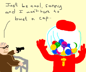 Grandpa Robs Gumball Machine