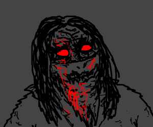 Bloody face in the darkness