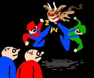 Mario & Luigi fight demon dog; kid watches
