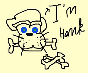 Hank the dog is eating bones.