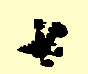Silhouetted mario riding yoshi