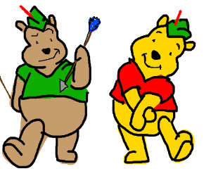 Pooh & another bear play Robin Hood Dressup