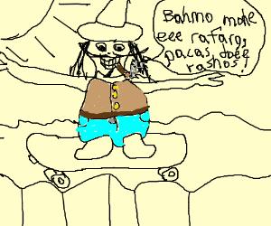 Sombrero man skateboards