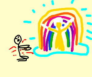 Rainbow portal opens when guy commits suicide