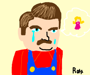 A Mario-Ron Swanson hybrid cries over Peach