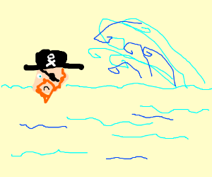 Pirate accepts fate of being killed by a wave