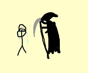 Death comes for weeping cartoon boy