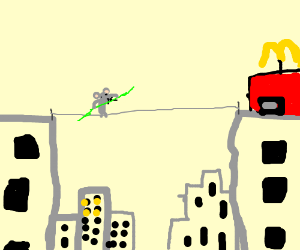 mouse walks tightrope over city to get to mcdo