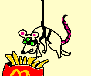 A mouse tightropes into McDonalds