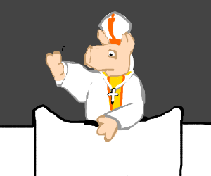 The Pork Pope waves
