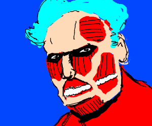 The Colossal Titan has BLUE HAIR we must fight
