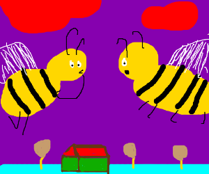 Two bumblebees gossiping