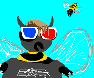 EmoHornedBee with 3D glasses