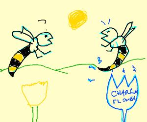 A bee sees through a robo-wasp's disguise.