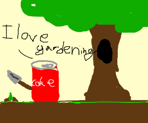 Cola can loves gardening under the tree