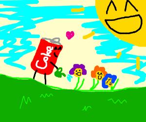 Coke can loves to garden.