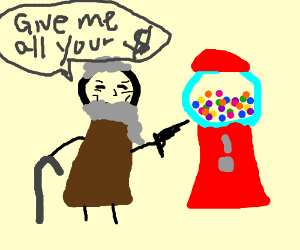 Old Man robs Gumball machine!