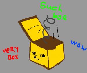 Troll captions Doge as Bye In a Box