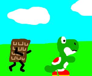 A chocolate bar chases Yoshi