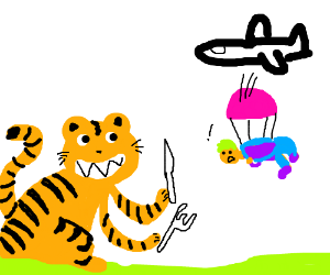 Hungry tiger receives human by air mail