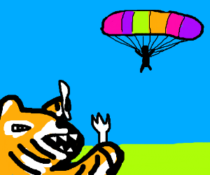 Tiger ready to eat sky diver with fork & knife