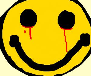 A bleeding smiley face (No, not Watchmen).