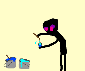 Enderman paints egg with two shades of blue