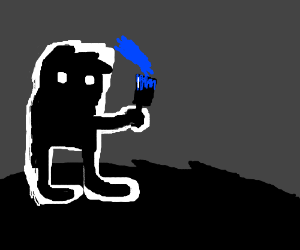 The guy from limbo painting with blue paint