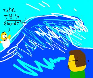 Homer Simpson casts a Kamehameha Wave