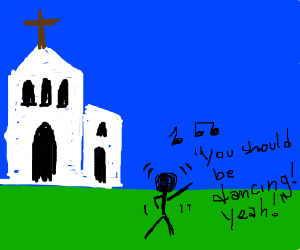 Dancing in front of a church